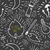 Black and white seamless pattern with doodle outline with luminous elements.  Stock Photography