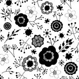Black and white seamless pattern with doodles of flowers Royalty Free Stock Image