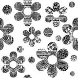Black and white seamless pattern with ethnic motifs Royalty Free Stock Images