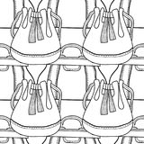 Black and white seamless pattern with fashion bags for coloring Royalty Free Stock Photos