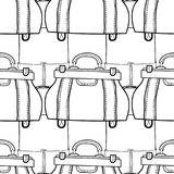 Black and white seamless pattern with fashion bags for coloring Stock Images