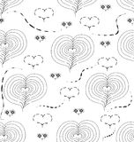 Black-and-white seamless pattern with figures in the form of hearts. And swirls Royalty Free Stock Photography