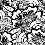 Black and White Seamless Pattern with Floral Motifs Royalty Free Stock Photo