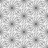 Black and white seamless pattern with flower style, abstract bac Stock Photos