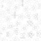 Black and white seamless pattern in flowers with contours Royalty Free Stock Photography