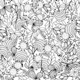 Black and white seamless pattern with flowers, leaves for coloring book. Floral background stock photo