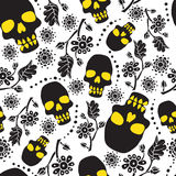 Black and white seamless pattern with flowers and skulls. White background. Stock vector illustration Stock Image