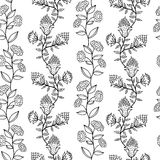 Black and white seamless pattern with flowers Stock Photo
