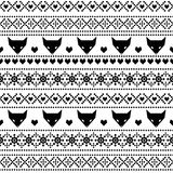 Black and white seamless pattern with fox for kids holidays. Scandinavian sweater style. Christmas decorations. Stock Photo