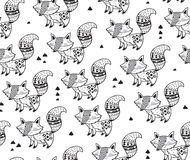 Black and white seamless pattern with foxes. Black and white background. Zentangle coloring book page. Vector illustration of hand drawn foxes with indian Stock Photo