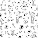 Black and White Seamless Pattern. Funny Doodle People and Items Royalty Free Stock Images