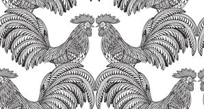 Black and white seamless pattern with hand drawn fiery roosters. In doodle ornate style. Beautiful vector endless background. Symbol of the new year Royalty Free Stock Images