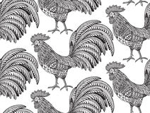 Black and white seamless pattern with hand drawn fiery roosters. In doodle ornate style. Beautiful vector endless background. Symbol of the new year Royalty Free Stock Image