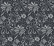 Black and white seamless pattern with hand drawn fireworks. Monochrome holiday vector endless background stock illustration