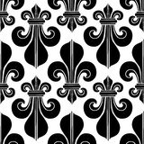 Black & white seamless pattern heraldry royal lily. Black & white floral seamless pattern. Heraldry royal lily Stock Photos