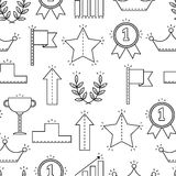 Black and white seamless pattern with icons of success, victory. Background Royalty Free Stock Images