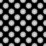 Black and white seamless pattern of lace flowers. Retro motif. Royalty Free Stock Photo