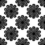 Black and white seamless pattern of lace flowers. Retro motif. Stock Images
