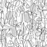 Black and white seamless pattern with leaves for coloring book Stock Image