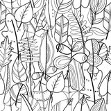 Black and white seamless pattern with leaves for coloring book Stock Photography