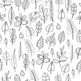 Black and white seamless pattern with leaves for coloring book Royalty Free Stock Photo