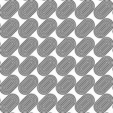 Black and white seamless pattern with line and oval shape. Stock Photography