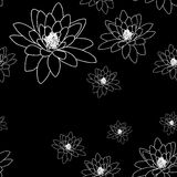 Black and white seamless pattern with magnolia flowers. Royalty Free Stock Images
