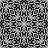 Black and White Seamless Pattern with Mosaic Floral Motif Stock Photos