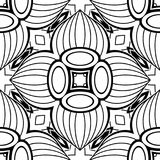 Black and White Seamless Pattern with Mosaic Floral Motif Royalty Free Stock Photo