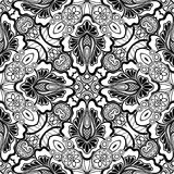 Black and White Seamless Pattern with Mosaic Floral Motif Stock Photo