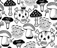 Black and white seamless pattern with mushrooms and skulls. Vector doodle illustration drawn by hand. Endless background for coloring book Stock Photography