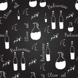 Black and white seamless pattern with olive oil bottle, balsamico bottle, pitchers, olive branches, chili pepper and letters. Royalty Free Stock Image