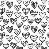 Black and white seamless pattern with outline doodle hearts - St Stock Images