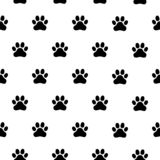 Black and white seamless pattern with paw prints. Abstract background, animal footprint stock illustration