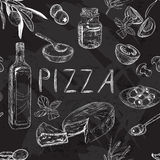 Black and white seamless pattern with Pizza menu Stock Photography