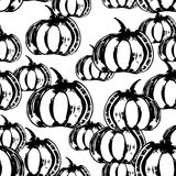Black and white seamless pattern with pumpkins Stock Photo