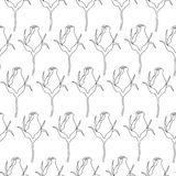 Seamless pattern roses vector. Black and white seamless pattern with rosebuds. Rose flowers silhouette. Vector background royalty free illustration