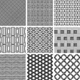Black and white seamless pattern set Stock Image