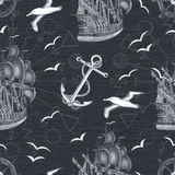 Black and white seamless pattern with ships Stock Photography