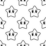Black and white seamless pattern with star character Stock Image