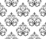 Black-and-white seamless pattern. Vector illustrat Royalty Free Stock Photo