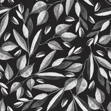 Black and white seamless pattern with watercolor branches vector illustration