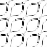 Black and white seamless pattern wave line style, abstract backg Stock Photo