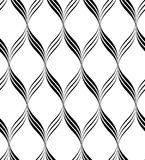 Black and white seamless pattern wave line style, abstract backg Stock Photography