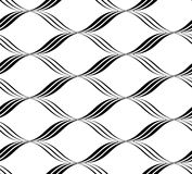 Black and white seamless pattern wave line style, abstract backg Royalty Free Stock Image