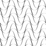 Black and white seamless pattern wave line style, abstract background Stock Photo