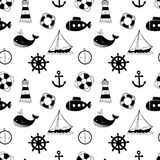 Black and white seamless pattern with whales, sailing ships, wheels, lifebuoys and lighthouses. Stock Photo