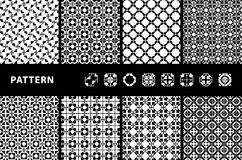 Black and White Seamless Patterns. Black and White Geometric Seamless Patterns. Vector Stock Photos
