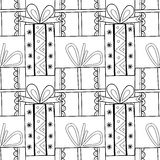 Black and white seamless patterns with gift boxes for coloring book. Festive background. Black and white seamless patterns with gift boxes for coloring book stock illustration