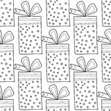 Black and white seamless patterns with gift boxes for coloring book. Festive background. Black and white seamless patterns with gift boxes for coloring book Stock Images